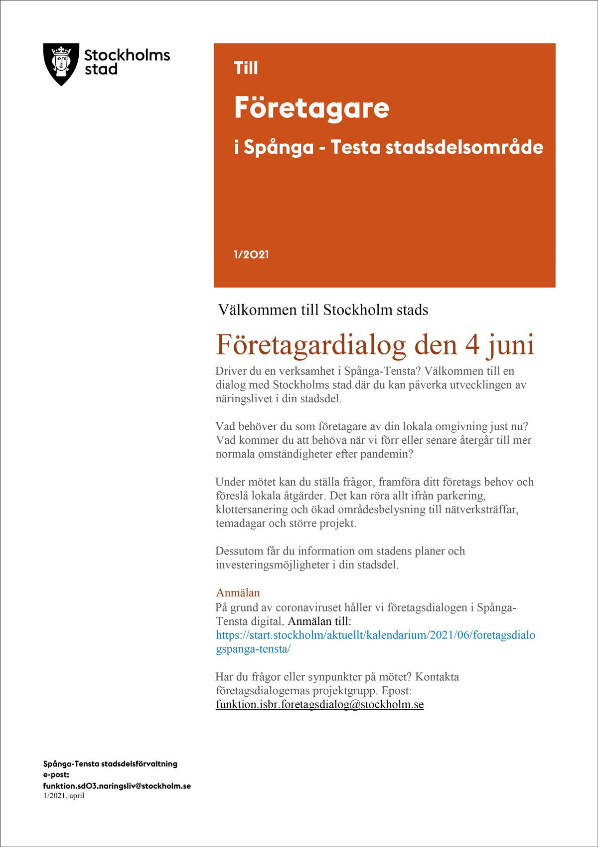 Företagardialog i Spånga-Tensta